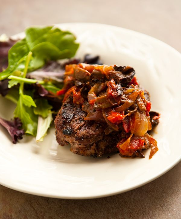 Grilled Steak with Tomato Mushroom Sauce via @Angie McGowan (Eclectic ...