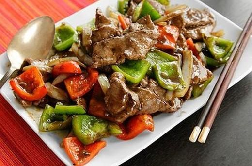 Chinese Pepper Steak (Stir Fried Beef with Onions, Peppers, and Black ...