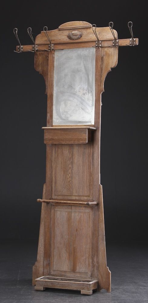 Hall Furniture with mirror. Made of oak coat rack and mirror. Early of 1900-century