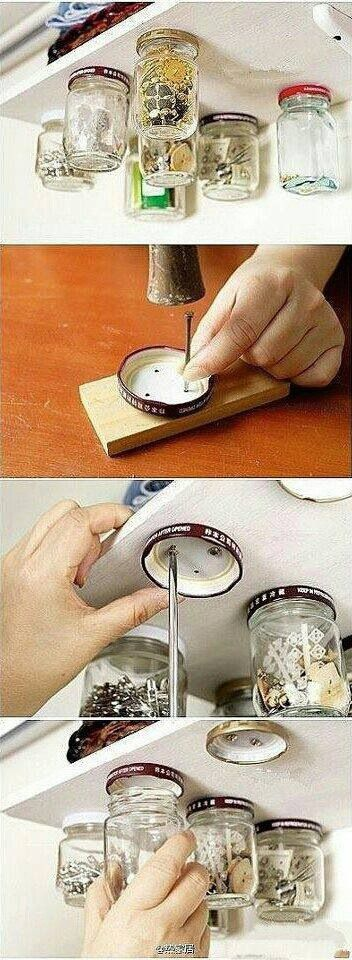 This would probably look tacky. And would leave holes in cabinets… So I would probably chicken out and not do it :P But it's clever.