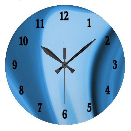 blue kitchen swirls wall clock