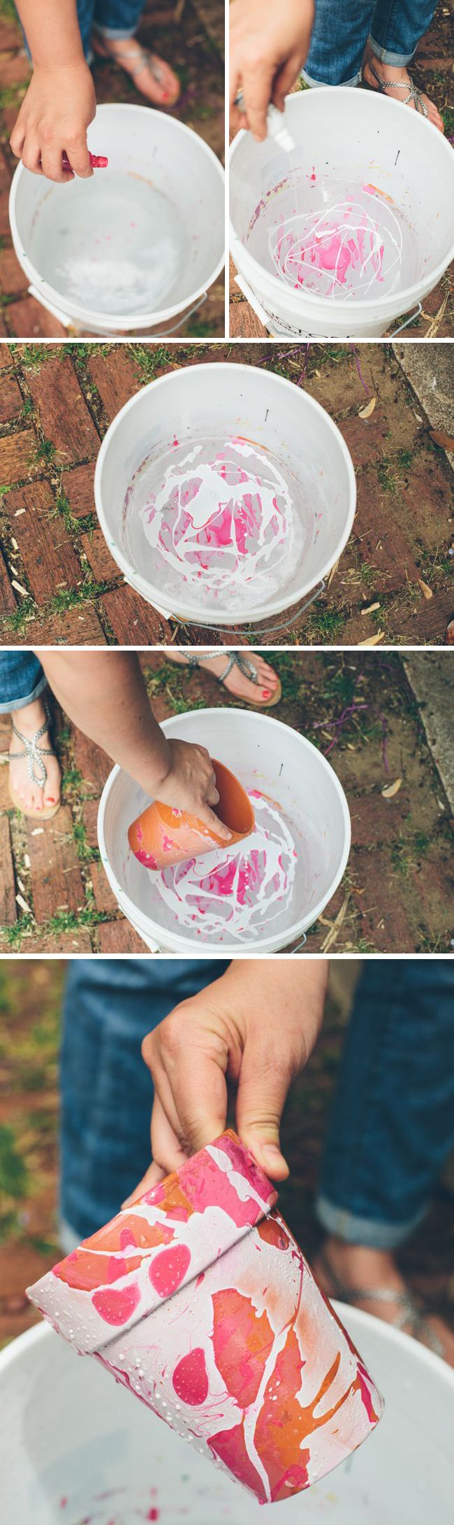 DIY: nail polish marbled planters
