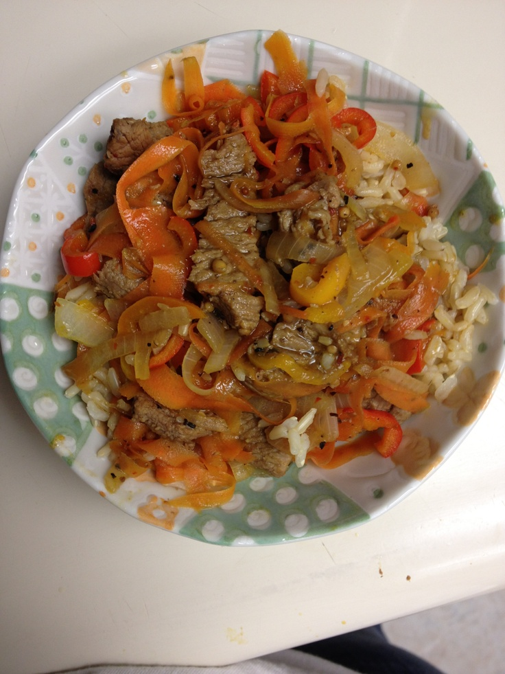 "My spicy ""Asian Style"" stir fried Beef w/ sautéed carrots, onions ..."