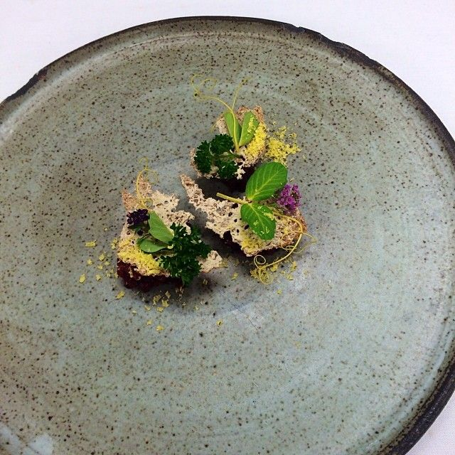 Beef tartare hay roasted beet farro and lichen @Daniel Heinze @ ...