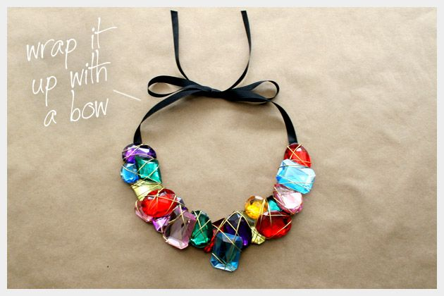 Wire wrapped gemstone statement necklace