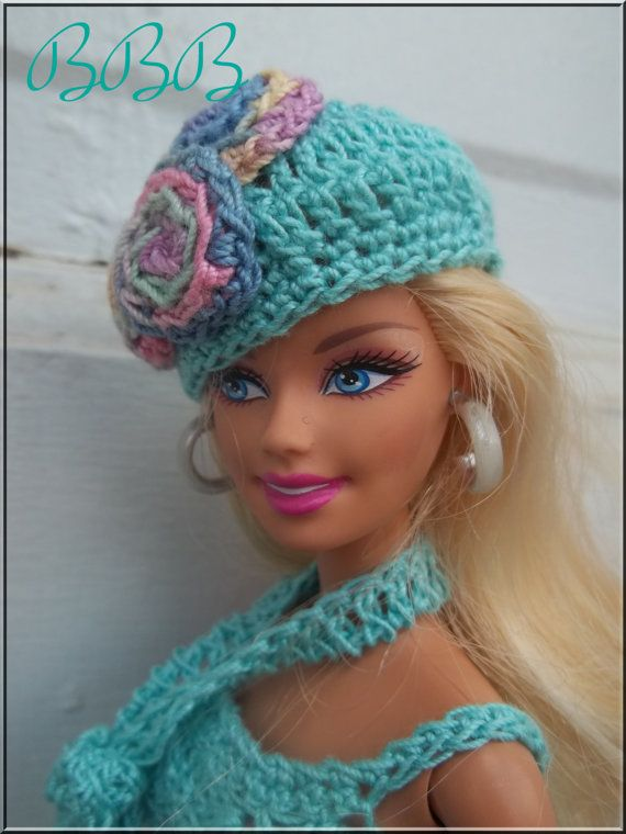 Barbie Clothes Crochet Teal Spaghetti Strap Dress Scarf Beret Purse