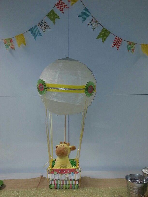 Hot air balloon baby shower centerpiece boy
