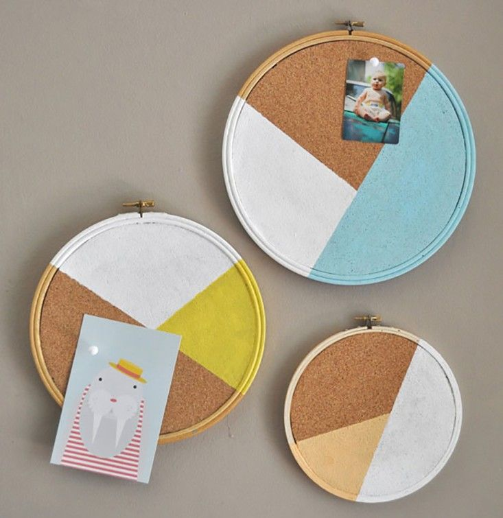 Color Blocked Pinboard DIY | Remodelista - embroidery frame, cork, and leftover paint