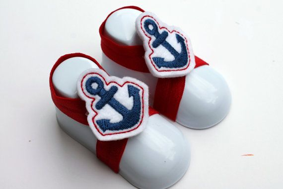 Blue Nautical Elastic Infant Shoes for Boys or Girls on Etsy, $8.00
