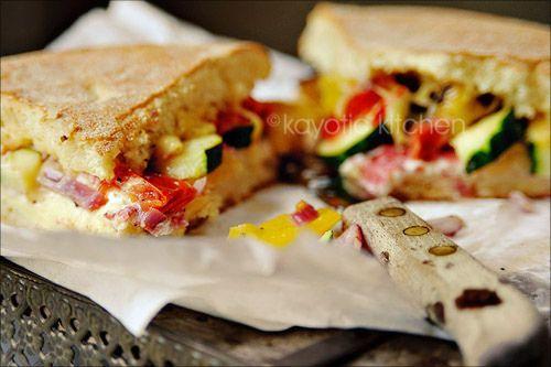 Roasted Vegetables and Salami Flatbread: mmm delightful. good winter ...