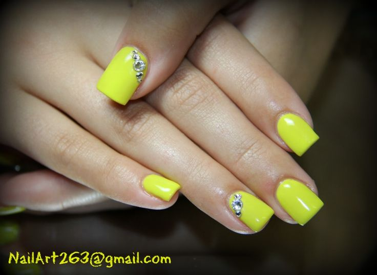 Neon yellow gel nails | My nails | Pinterest