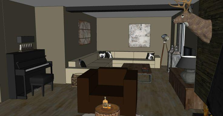 Woonkamer Inrichten Met Hoekbank : Woonkamer met hoekbank : 3D ...