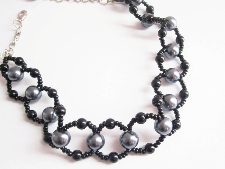 black and silver grey beaded necklace etsy finds