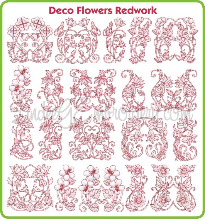 Deco flowers redwork collections machine embroidery