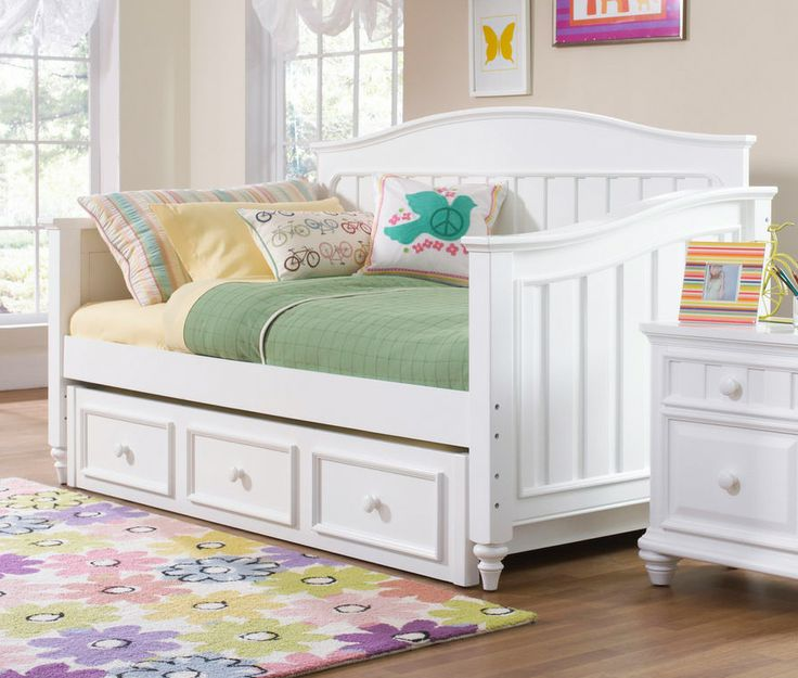 Furniture Summertime Day Bed With Trundle Storage Unit In Bright White
