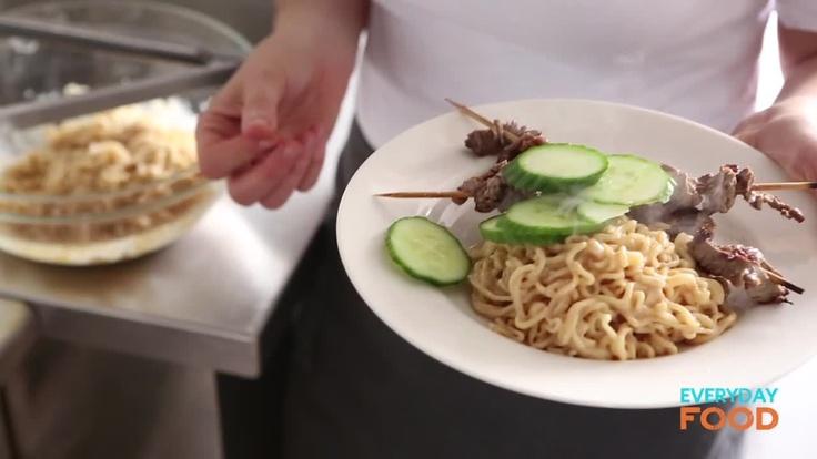 Beef Satay with Peanut-Ginger Ramen - Martha Stewart Recipes