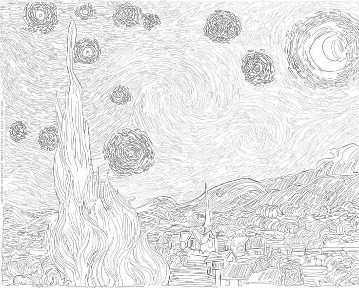 Arthistory About Comstarry Night Coloring Page Art Starry Coloring Page Gogh