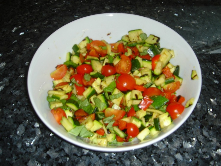 Grilled vegetable salad! Grilled zucchini, tomatoes, and fresh basil ...
