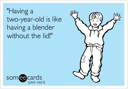 'Having a two-year-old is like having a blender without the lid!'