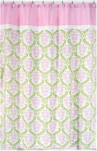 Pink And Green Scene Shower Curtains Green Pink Pinterest