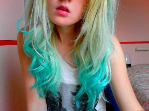 Blonde with teal tips. | Colored hair. | Pinterest