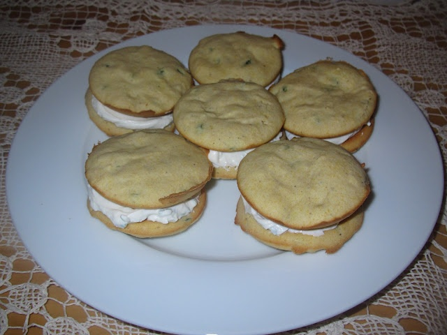 Jalapeño Cornbread Whoopie Pies with Goat Cheese Chive Filling