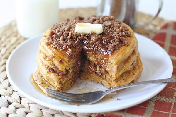 Pumpkin Cinnamon Streusel Pancake Recipe via twopeasandtheirpod.com  #recipe