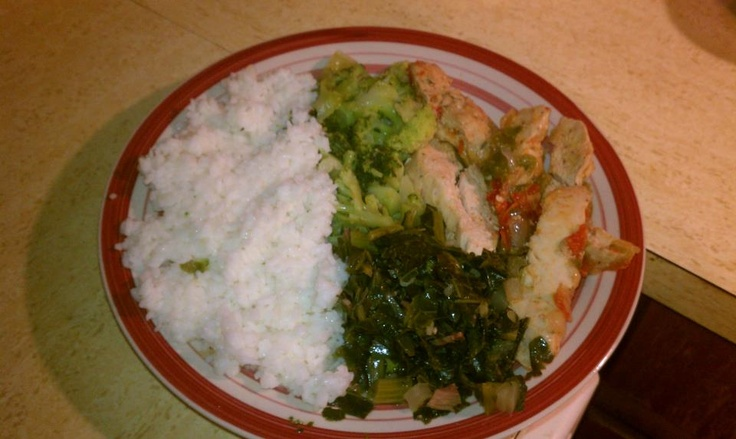 Sauteed chicken, turnip greens, broccoli, rice, and honey butter wheat ...