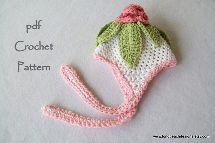 Free Crochet Pattern For Cabbage Rose : Crochet Baby Ear Flap Hat Pattern, Baby Cabbage Rose Hat