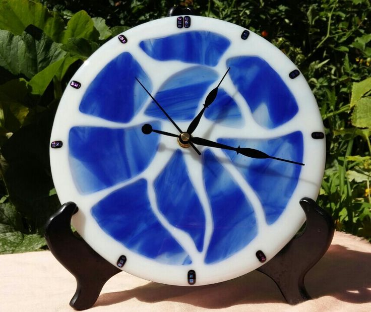 Fused glass wall clock i love creating with glass for Fused glass wall clocks
