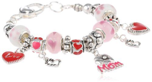 Love You Mom Pink Hearts and Flowers Charm Bracelet, 7.5