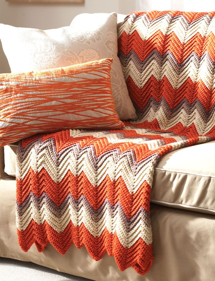 FREE PTRN DOWNLOAD: EASY CROCHET. Zig-Zag Afghan Yarnspirations.