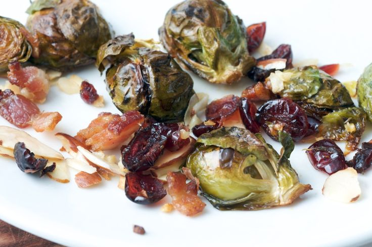 Roasted Brussels Sprouts w/ bacon & cranberries almonds