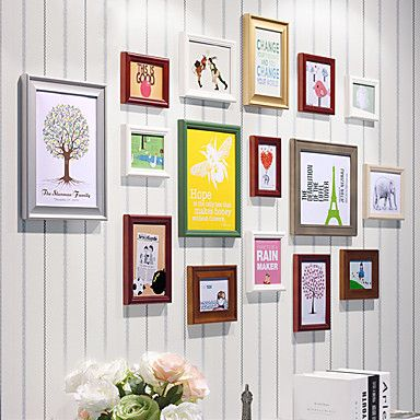 Contemporary colorful collage picture frames set of 16 for Modern collage frame