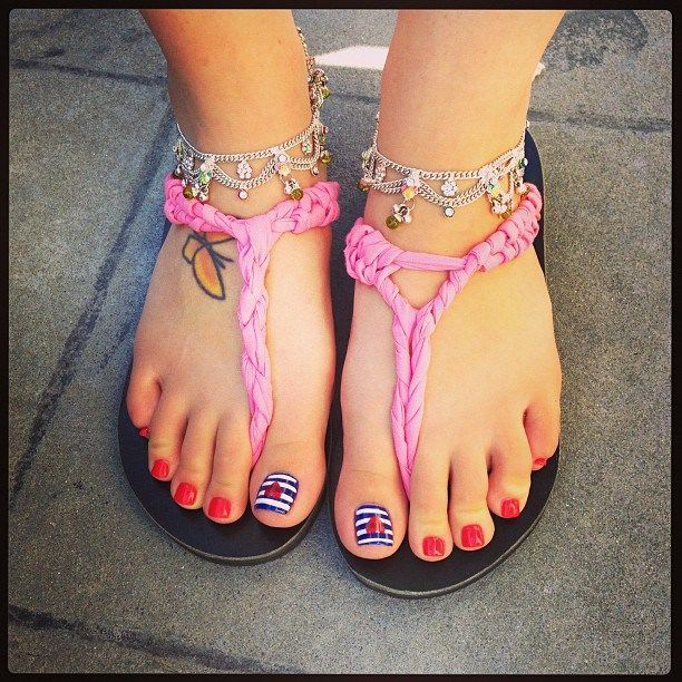4th Of July Toe Nail Art Nailarts Ideas