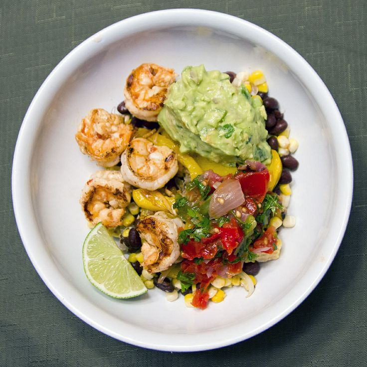 Quinoa, black beans, roasted corn, spicy grilled shrimp, guacamole ...