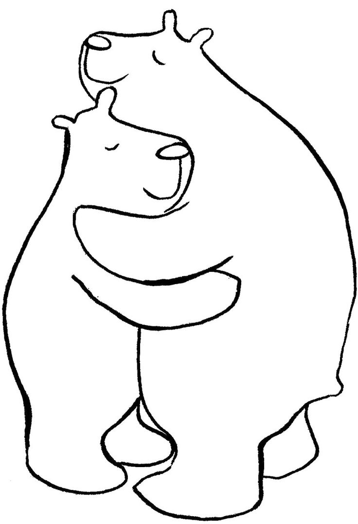 Two bears hugging coloring pages