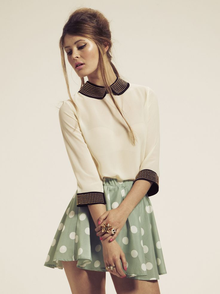 Button Back Studded Collar Blouse