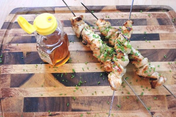 Lemony Honey Mustard Chicken Skewers | FOOD! | Pinterest