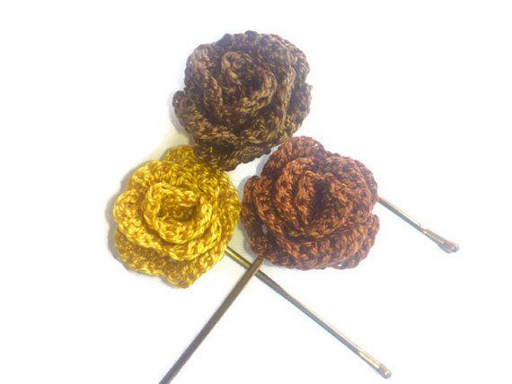 Crochet Hair Using Bobby Pin : Crochet bobby pins crochet flower crochet hair pins by SilviStudio, $ ...