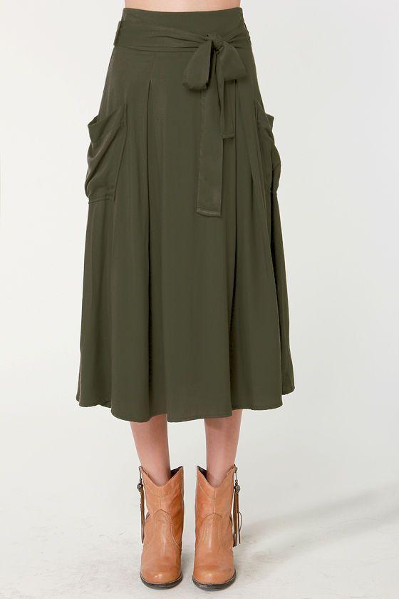 sweetbriar olive green midi skirt