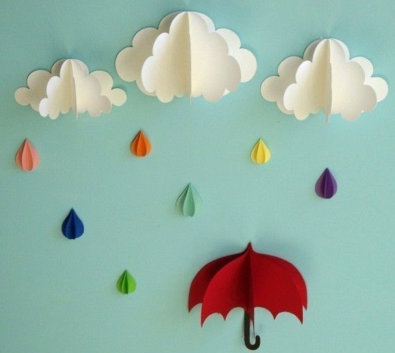 Paper Clouds Wall Decor : Red umbrella raindrops and clouds wall art d paper