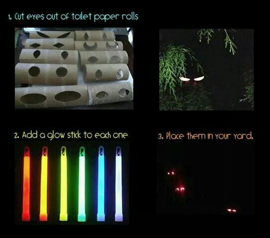 Easy scary eyes for halloween cut holes in toilet paper for Glow sticks in toilet paper rolls