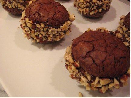 Chocolate button cookies with chocolate-hazelnut sour cream ganache ...