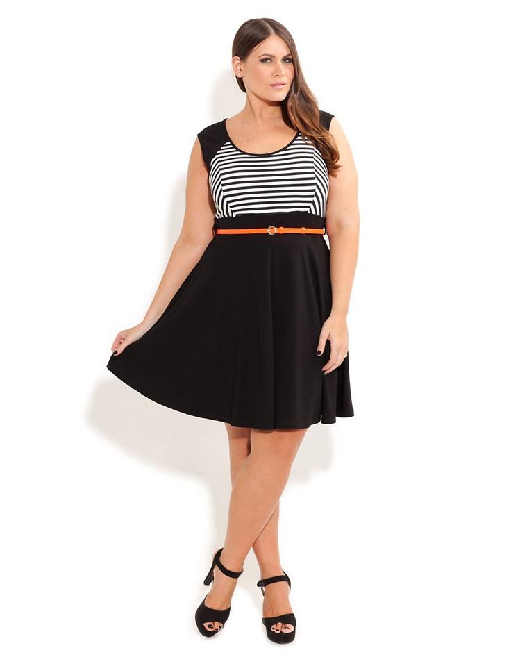 stripe skater dress with belt sonsi plus size goodness