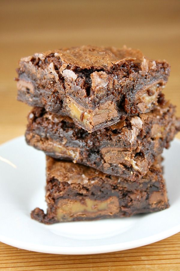 Caramel Brownies--brownie mix with Dove caramel filled candies