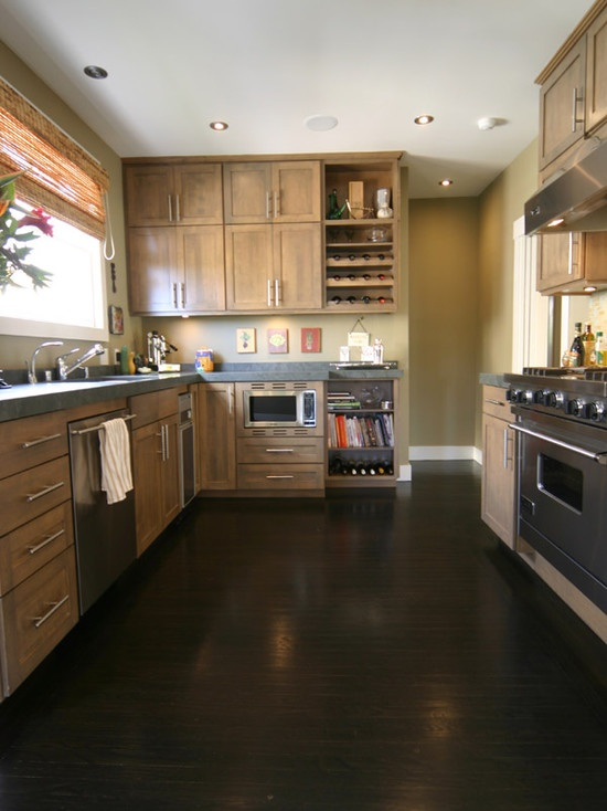 Dark Wood Floor, light wood cabinets too modern style of cabinets