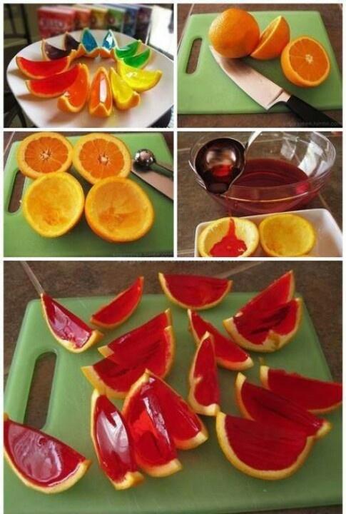 Rainbow jello orange wedges! Yum and Fun!