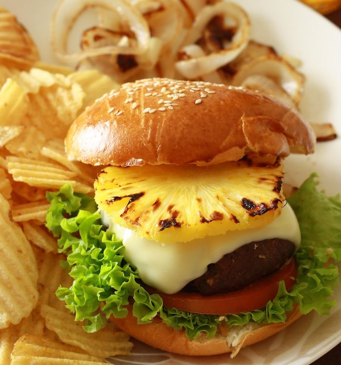 Jamaican burgers with pineapple and avocado topping. made this tonight ...