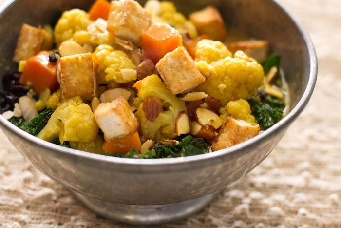 curried vegetables with tofu and forbidden rice. I didn't saute kale ...